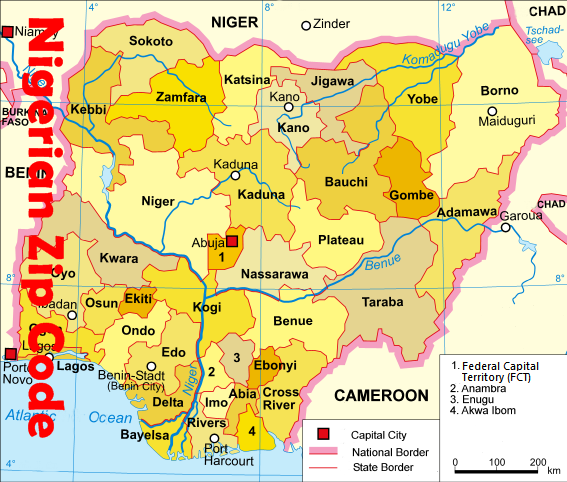 Nigerian States & Capital with Federal Territory