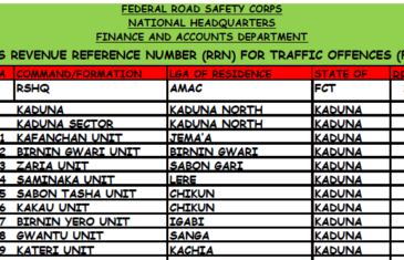 gifmis code for frsc offence payment