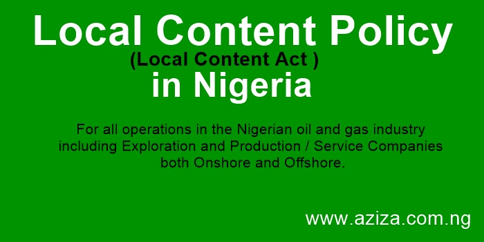Local Content Policy (Local Content Act) in Nigeria