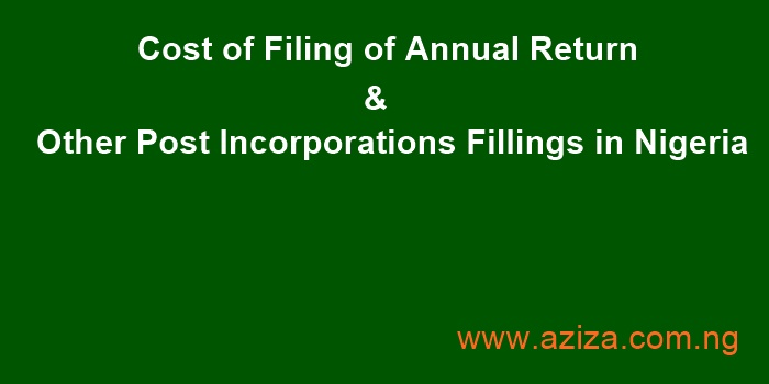 Cost of Filing of Annual Return & Other Post Incorporations