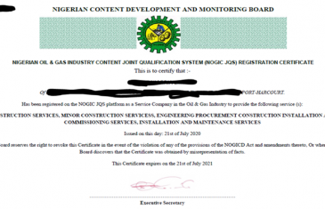 NOGIC JQS Registration Certificate