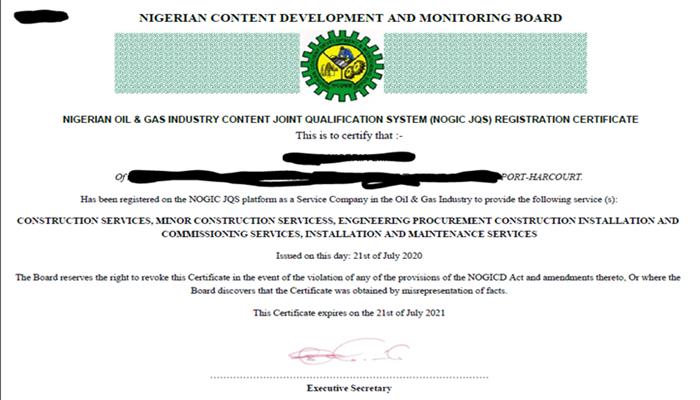 NOGIC JQS Registration Certificate & Requirements